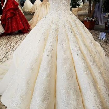 Luxurious Cap Sleeve Ball Gown Wedd..