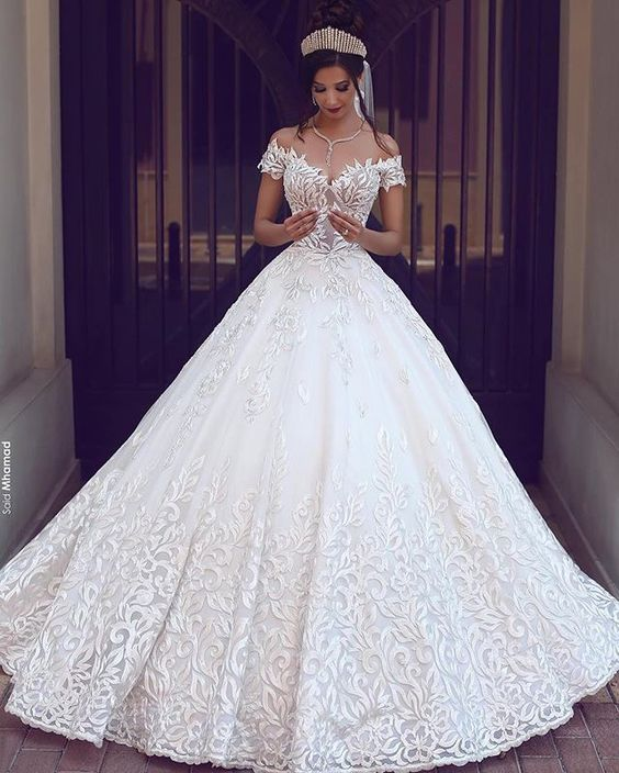 Pretty Ball Gowns Wedding Dresses,Off the Shoulder Lace Bridal Dresses,Charming Women Dresses