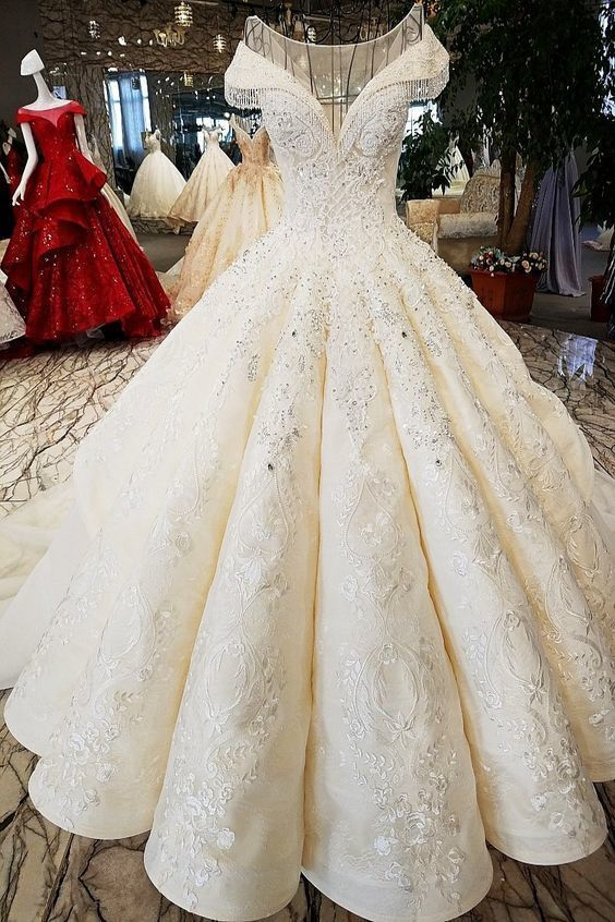 Luxurious Cap Sleeve Ball Gown Wedding Dresses | 2019 Lace Beadings Bridal Gowns,W2270