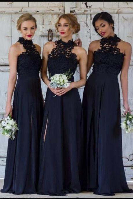 Dark Navy Halter Lace A-line Floor-Length Bridesmaid Dress with Slit