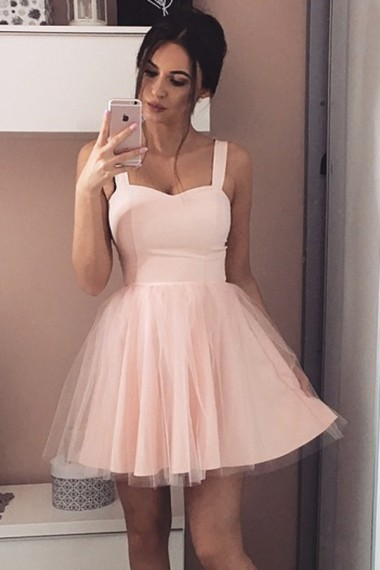 A-Line Straps Short Sleeveless Pink Tulle Homecoming Dress