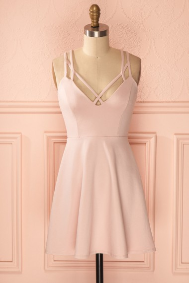A-Line Straps Criss-Cross Straps Short Pink Satin Homecoming Dress
