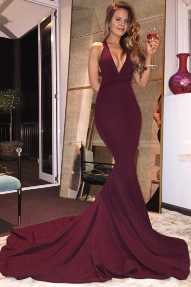 Mermaid Deep V-Neck Criss-Cross Straps Court Train Burgundy Satin Prom Dress