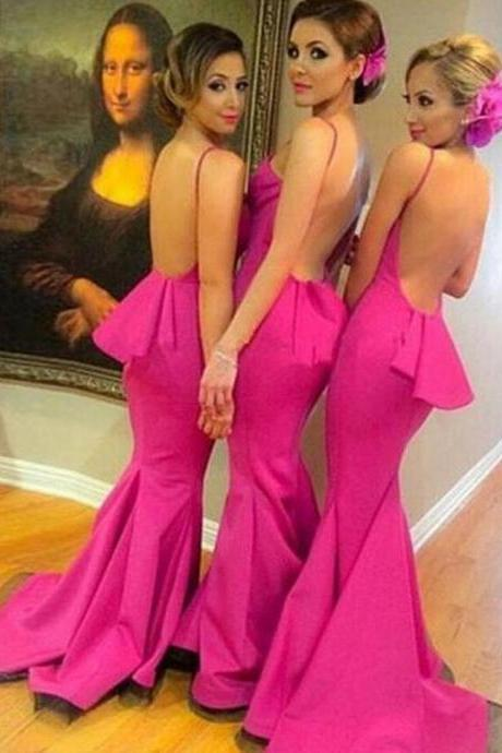 Sexy Bridesmaid Dresses, Backless Mermaid Bridesmaid Dresses,Prom Dresses