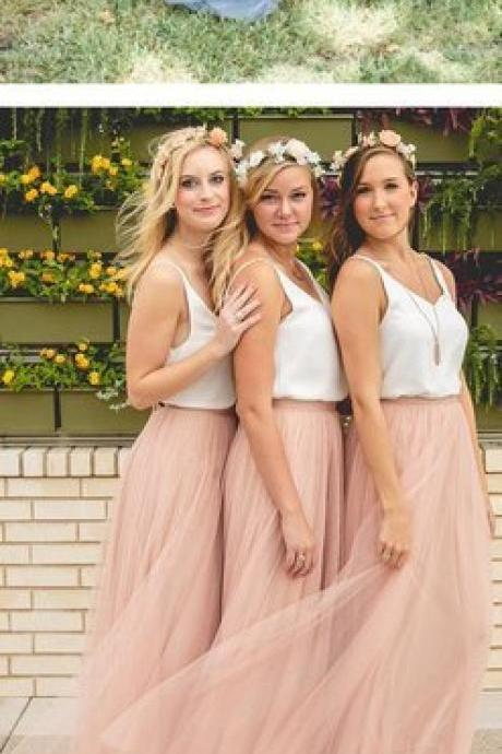 Simple A-line Bridesmaid Dresses Pink Tulle Cheap Scoop Long Bridesmaid Dresses