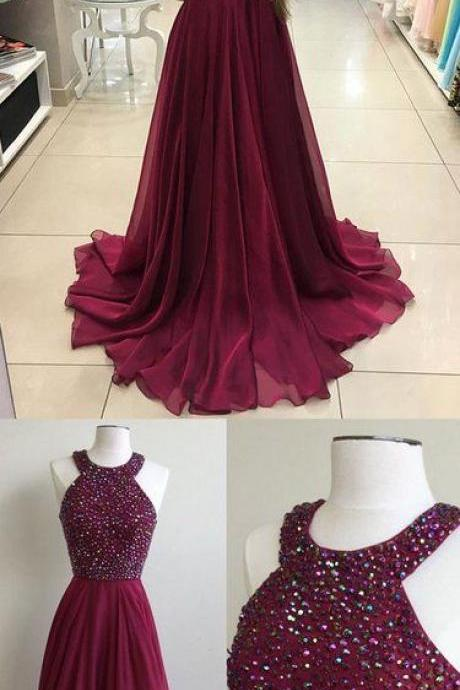 Long Prom Dress Halter Neckline, Beaded Prom Dresses, Party Gown, Graduation Dresses, Formal Dress For Teens