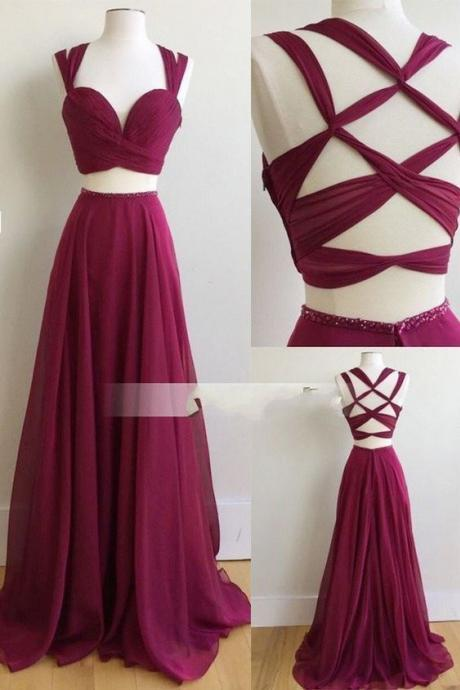 Sleeveless Prom Dress,Two Piece Sexy Prom Dresses,Chiffon Evening Dress,Long Evening Dresses
