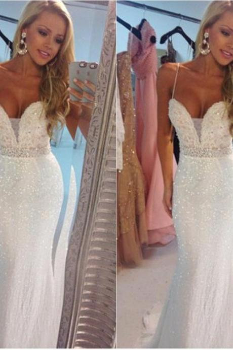 Vestidos de Formatura, Sexy Spaghetti Straps Sequin Long White Prom Dress 2016, Abendkleider Mermaid Evening Dress, Party Gown