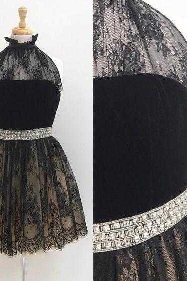Charming Prom Dress, Sexy Prom Dress, Black Lace Prom Gowns