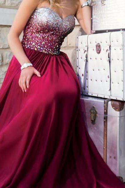 Wine Red Prom Dresses,Burgundy Prom Dress,Sexy Prom Dress,Sequined Prom Dresses,2016 Formal Gown,Chiffon Evening Gowns,A Line Party Dress,Sequin Prom Gown For Teens