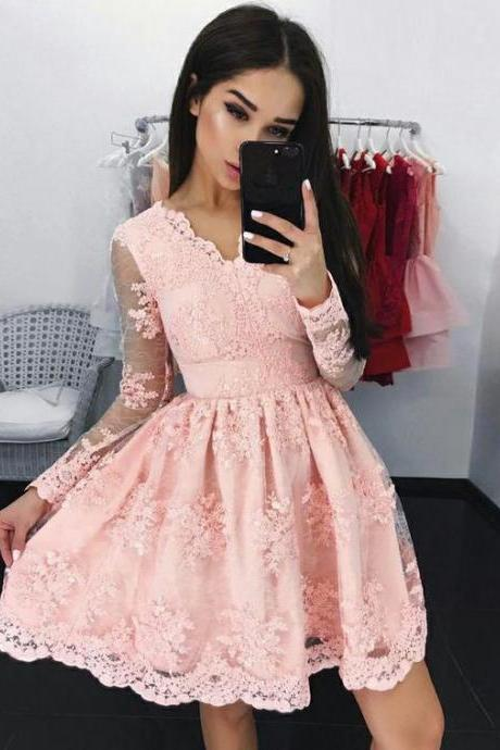 A-Line V-Neck Homecoming Gown,Long Sleeves Short Pink Lace Appliqued Homecoming Dress,Tulle Graduation Dress with Appliques