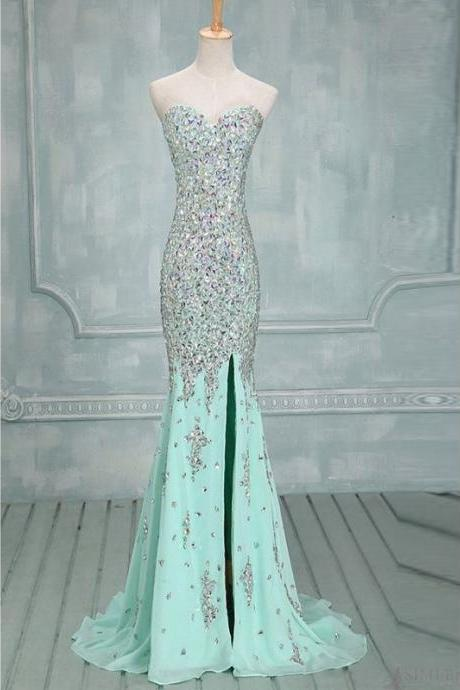 Sweetheart Jewel Embellished Mermaid Long Prom Dress, Evening Dress Featuring Side Slit