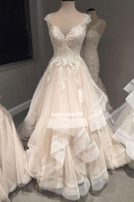 V-Neck Appliques Wedding Dresses,Long Wedding Dresses,Cheap Wedding Dresses, Evening Dress Prom Gowns, Formal Women Dress,Wedding Dresses