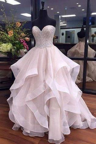 Sweetheart Beaded Prom Dress,Bodice Tulle Prom Dress,Custom Made Evening Dress