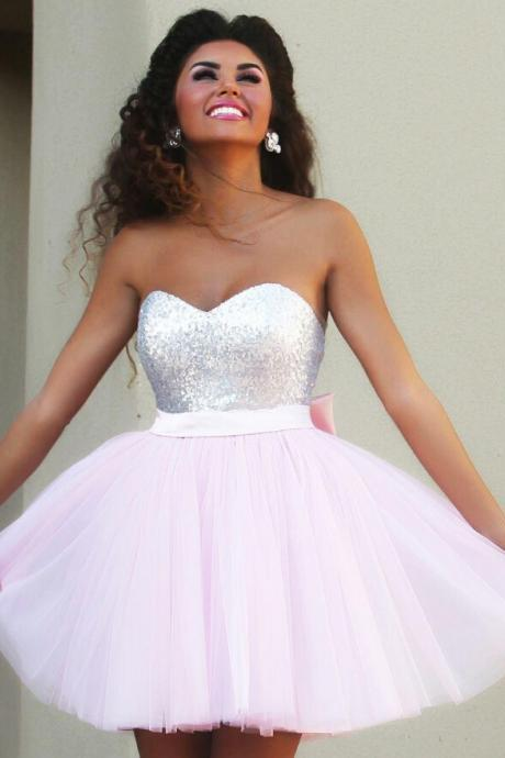 New Arrival Light Pink Short/Mini Homecoming Dresses, Short/Mini Raduation Dresses,Charming Homecoming Dresses,Graduation Dresses, Short/Mini Homecoming Dresses, Sexy Prom Dresses, Homecoming Dress, Homecoming Dress With Beading Sashes