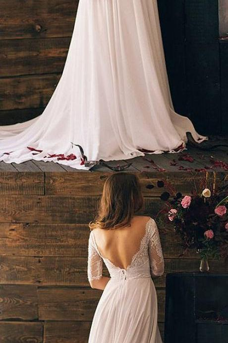 Bateau Lace Chiffon A-line Wedding Dress with Open Back and Mid-Length Sleeves