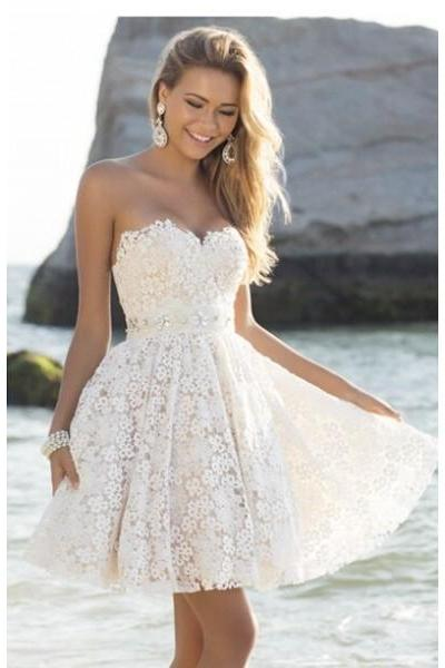 Formal Dresses Prom Dresses Ivory Sweetheart Short Lace A Line Homecoming Cocktail Dress
