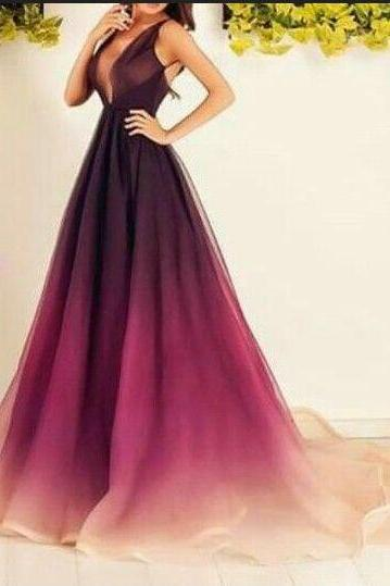 Chiffon Prom Dresses,Long Prom Dresses,V-neck Prom Dresses,A-line Prom Dress,Plus Size Prom Dresses,Pretty Prom Gowns,Evening Dresses,Elegant Party Dresses