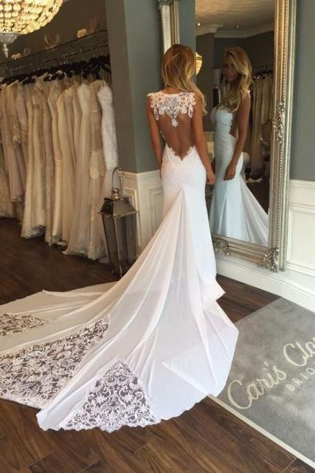 New Arrival Wedding Dress,Sweep Train Lace Wedding Dress with Backless Lace Wedding Gowns
