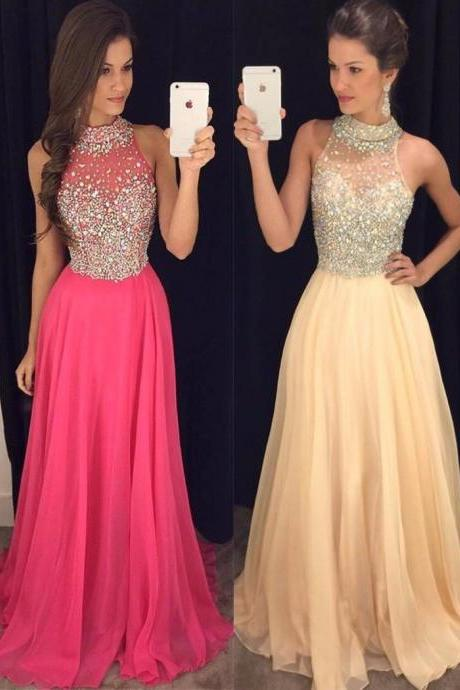 Long Prom Dresses 2017,Halter Sleeveless Backless Sweep Train Chiffon with Crystal Prom Dress,Sexy A-line Party Dresses Evening Gowns