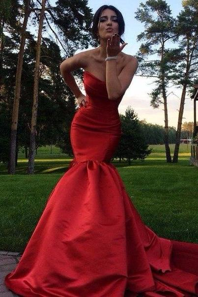 Charming Prom Dress,Mermaid Prom Dress,Red Prom Dresses,Sweetheart Prom Dresses