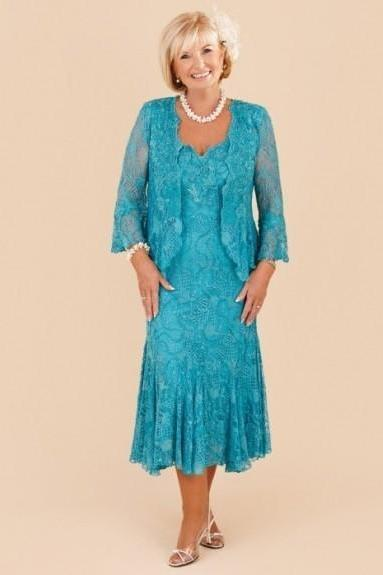 New Elegant Turquoise Plus Size Mother of the Bride Lace Dresses 2018 Tea Length Wedding Party Gowns