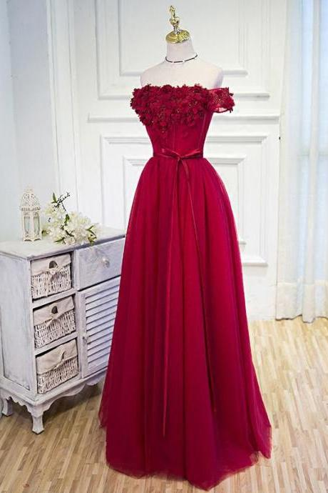 Prom Dresses Burgundy Hand-Made Flower Prom Dress/Evening Dress