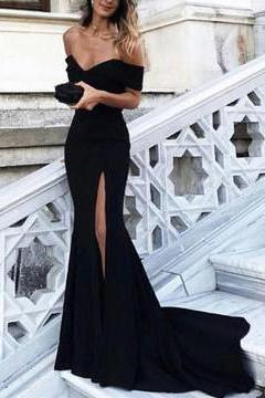 Sexy Prom Dresses Off-the-shoulder Sheath/Column Long Black Prom Dress/Evening Dress