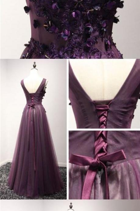 V-Neck Sleeveless Floral Lace Appliqués Floor-length Prom Dress, Evening Dress Featuring Lace-Up Back