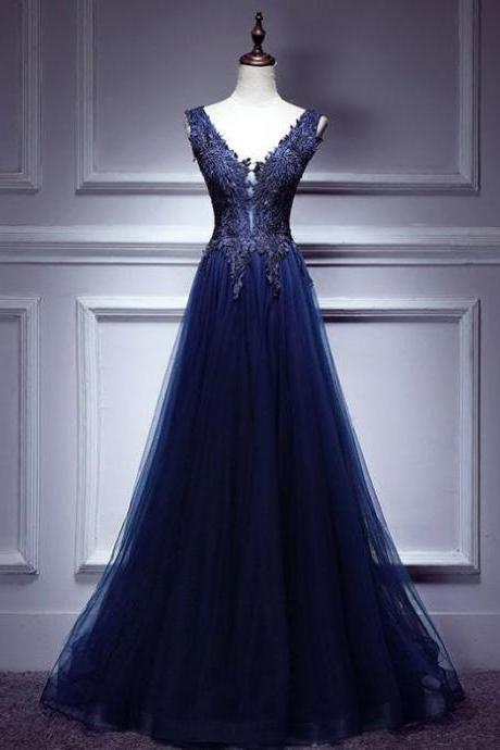 Chic Dark Blue Prom Dress A-line V Neck Applique Prom Dress Evening Dress