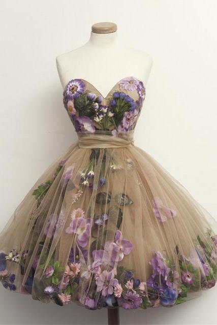 Floral Appliqués Sweetheart Short Tulle Homecoming Dress, Formal Dress