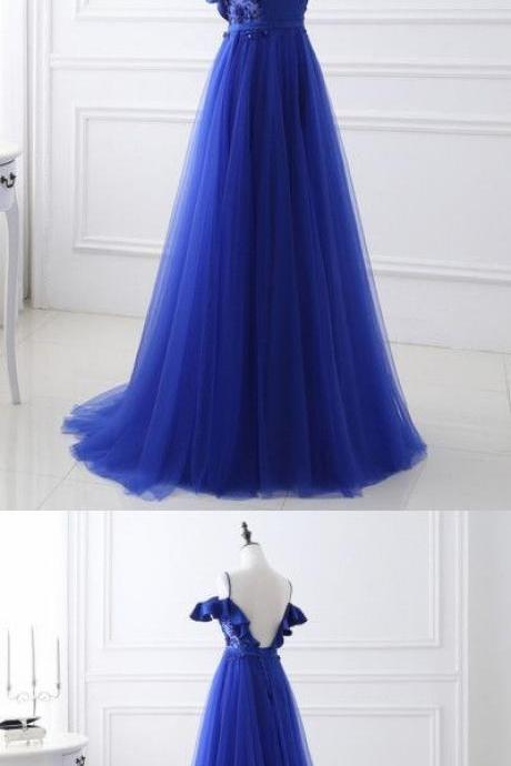 Cold-Shoulder Ruffle A-line Long Prom Dress, Evening Dress Featuring Lace-Up Back