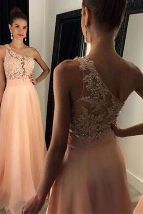Elegant One Shoulder Floor-Length Peach Beading Prom Dress with Appliques