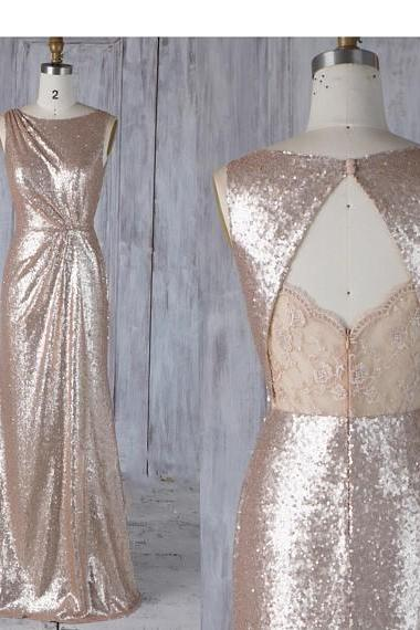 Bridesmaid Dress Tan Sequin,Asymmetric Ruched Wedding Dress,Lace Illusion Open Back Prom Dress,Maxi Bodycon Evening Dress Full Length