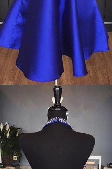 Sparkly Halter Short Royal Blue Homecoming Dress Party Dress