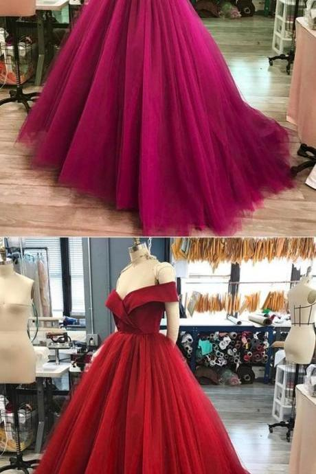 Ball Gown Off-the-Shoulder Sweep Train Red Tulle Prom Dress with Ruffle