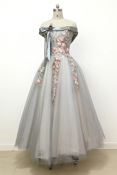 Light Grey Off-The-Shoulder Floral Tulle A-line Long Prom Dress, Evening Dress, Bridesmaid Dress Featuring Lace-Up Back