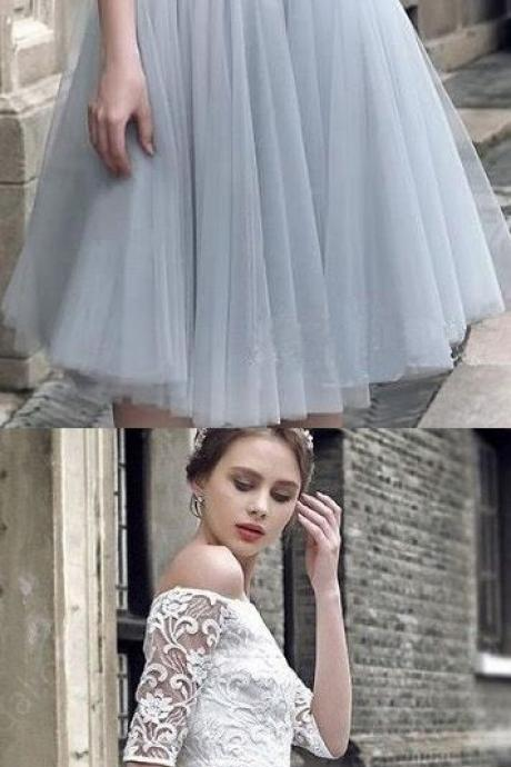 Light Blue Homecoming Dresses, Two Piece Homecoming Dresses, 2017 Homecoming Dress Half Sleeve Lace Short Prom Dress Party Dress ,HD 836