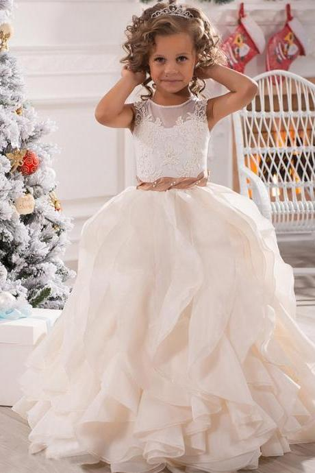 2016 Lovely Long First Communion Dresses for Girls Wedding Party Gown Ruffle Girl Birthday Party Dress Flower Girl Dresses,FGD840