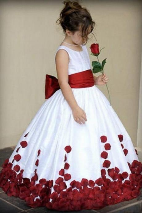 Round Neck Ball Gown Flower Girl Dress with Petals,FGD849