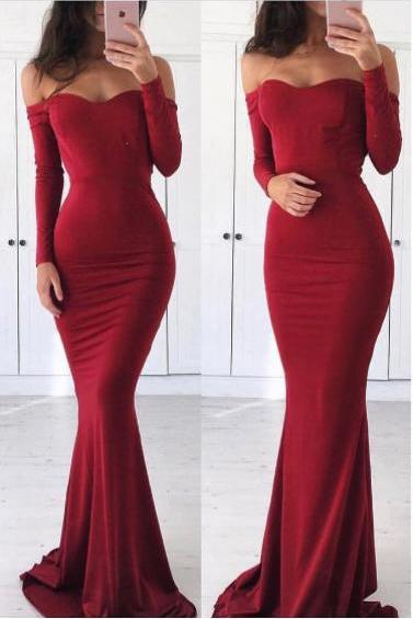 Sexy Off Shoulder Prom Dress,Mermaid Long Sleeves Evening Dress,Sexy Mermaid Red Graduation Dress,P1067