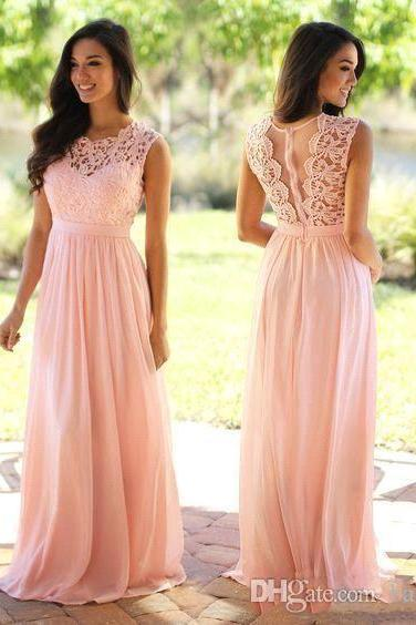 Elegant Coral Mint Bridesmaid Dresses Lace Appliqued Wedding Guest Dress Sheer Back Zipper Sweep Train Chiffon Cheap Formal Gown,BD1300