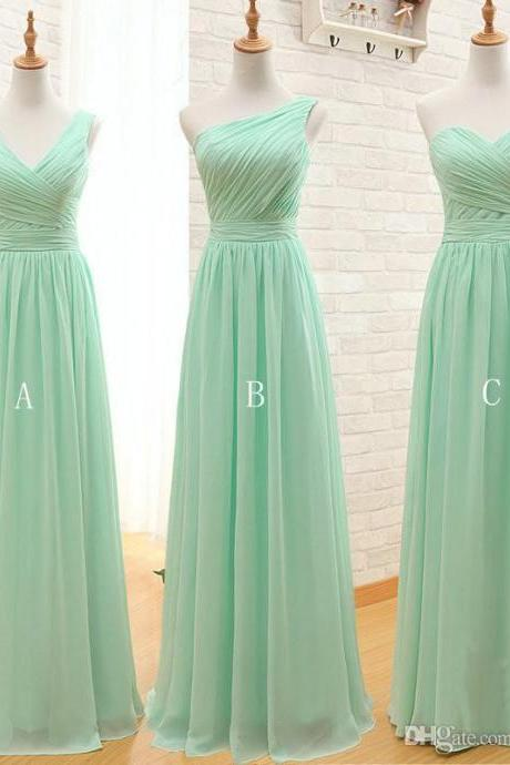 2017 Long Cheap Mint Green Bridesmaid Dresses ,Length Chiffon A-Line, Sage Formal Dress,BD1301