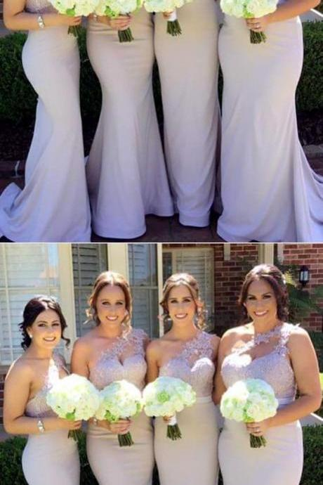 Long Nude One Shoulder Bridesmaid Dresses Mermaid Appliques Formal Gowns For Bridal Party,BD1362