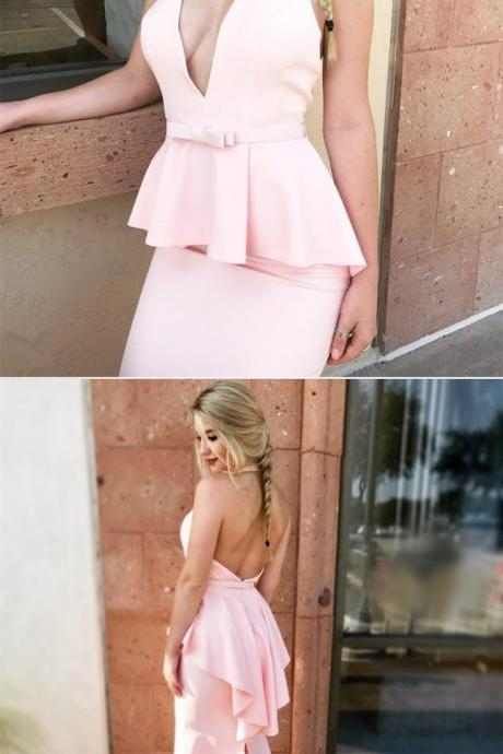 V Neck Halter Backless Peplum Prom Dress Evening Gowns Pink Prom Dresses,P1400