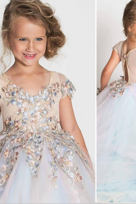 Cute Flower Girl Dresses,Short Sleeves with Appliques Beading Girl Dresses,FG1473