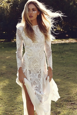Vintage Lace Mermaid Long Sleeve Wedding Dresses Summer Beach Boho Backless Bridal Gowns,W1484