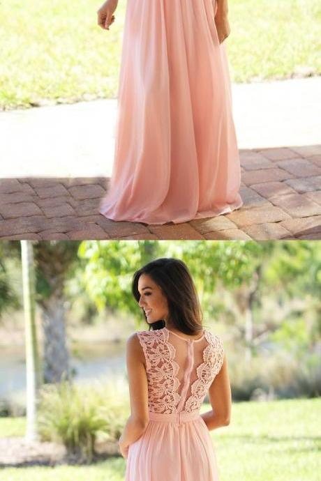 Custom Made Sleeveless Sheer Lace Chiffon Floor-Length Bridesmaid Dress