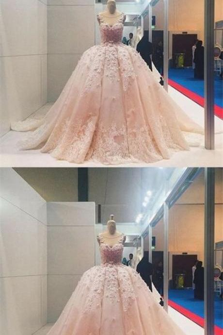 Custom Charming Pink Lace Quinceanera Dress,Applique Beading Ball Gown,Sweet Pink Prom Dress,W1662