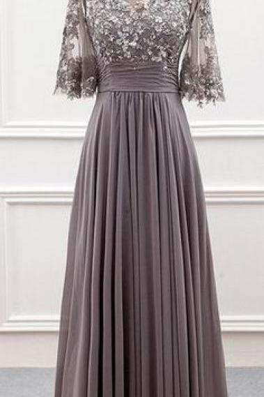 Wonderful Tulle & Chiffon Bateau Neckline A-line Mother Of The Bride Dress With Sequin Lace Appliques,P1679